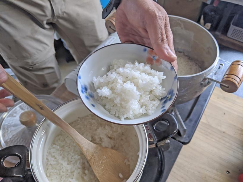 大柿自然栽培米炊き立てごはん