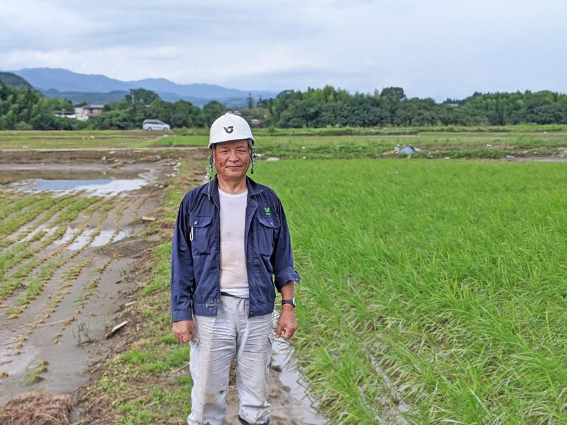 大柿自然栽培米水田浸水後